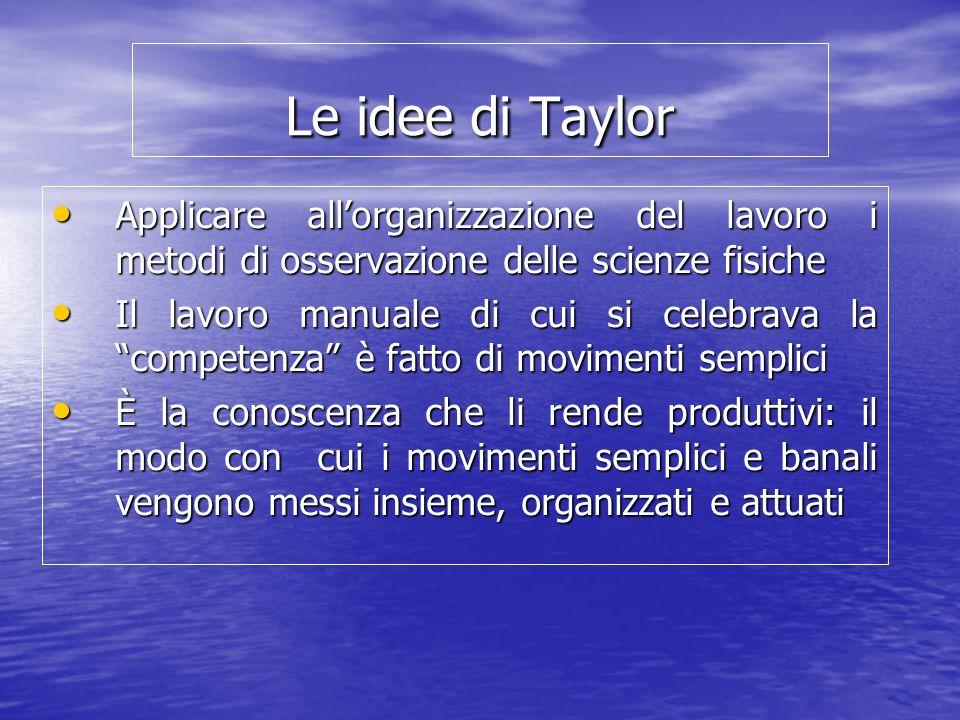 Le idee di Taylor Applicare allorganizzazione del lavoro i metodi di osservazione delle scienze fisiche Applicare allorganizzazione del lavoro i metod