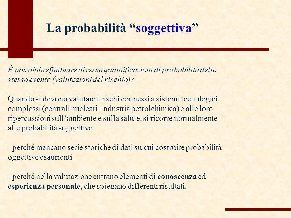 È possibile effettuare diverse quantificazioni di probabilità dello stesso evento (valutazioni del rischio).