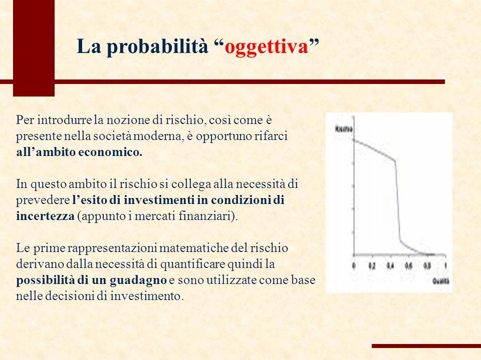 La probabilità oggettiva Per introdurre la nozione di rischio, così come è presente nella società moderna, è opportuno rifarci allambito economico.