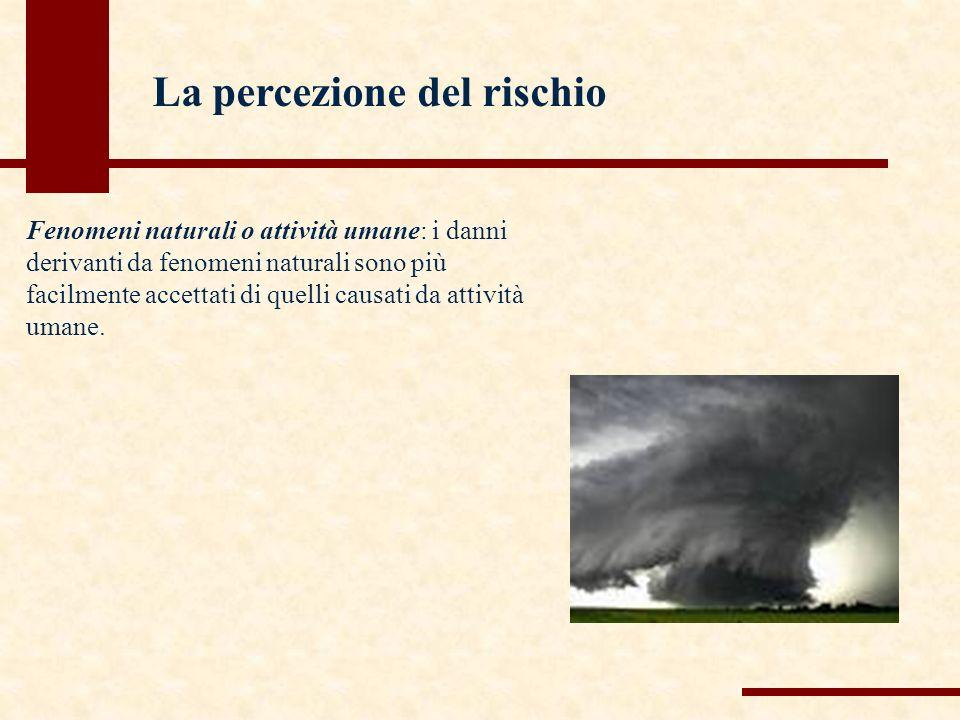Fenomeni naturali o attività umane: i danni derivanti da fenomeni naturali sono più facilmente accettati di quelli causati da attività umane.