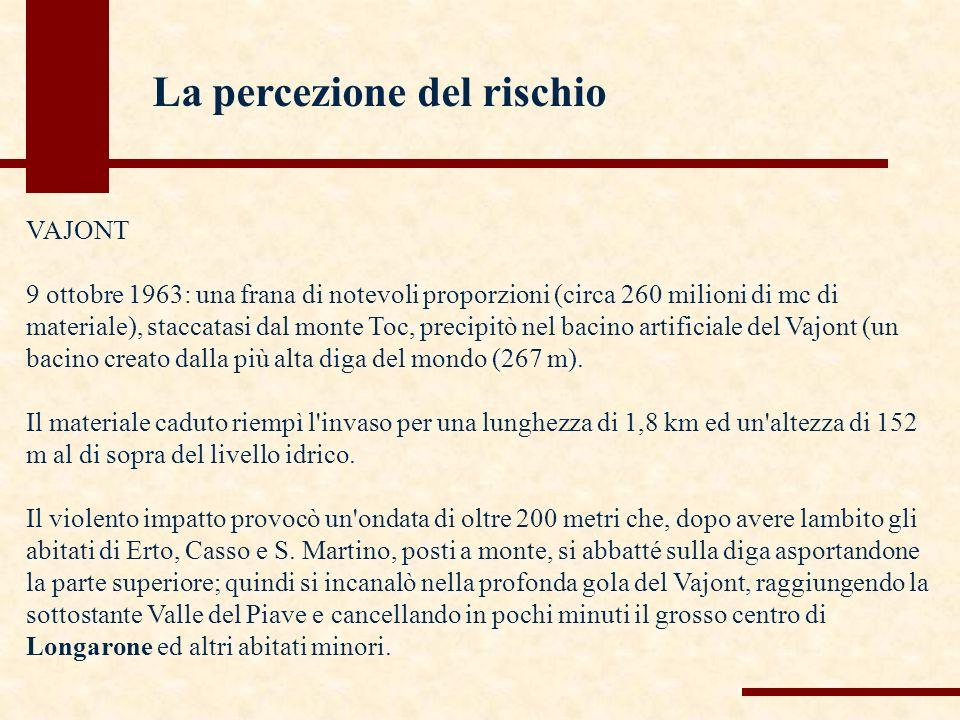 VAJONT 9 ottobre 1963: una frana di notevoli proporzioni (circa 260 milioni di mc di materiale), staccatasi dal monte Toc, precipitò nel bacino artificiale del Vajont (un bacino creato dalla più alta diga del mondo (267 m).