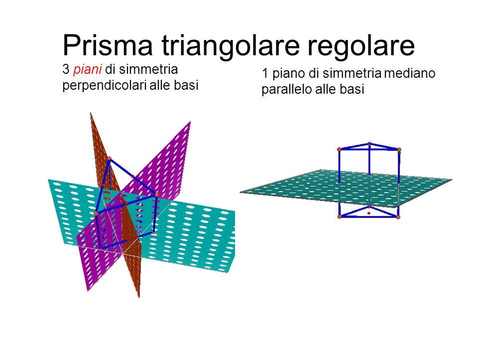 Prisma triangolare regolare 3 piani di simmetria perpendicolari alle basi 1 piano di simmetria mediano parallelo alle basi