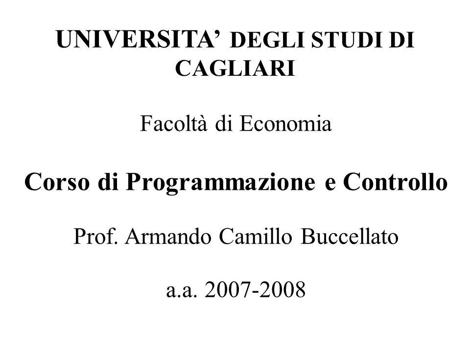 Facoltà di Economia Corso di Programmazione e Controllo Prof. Armando Camillo Buccellato a.a. 2007-2008 UNIVERSITA DEGLI STUDI DI CAGLIARI