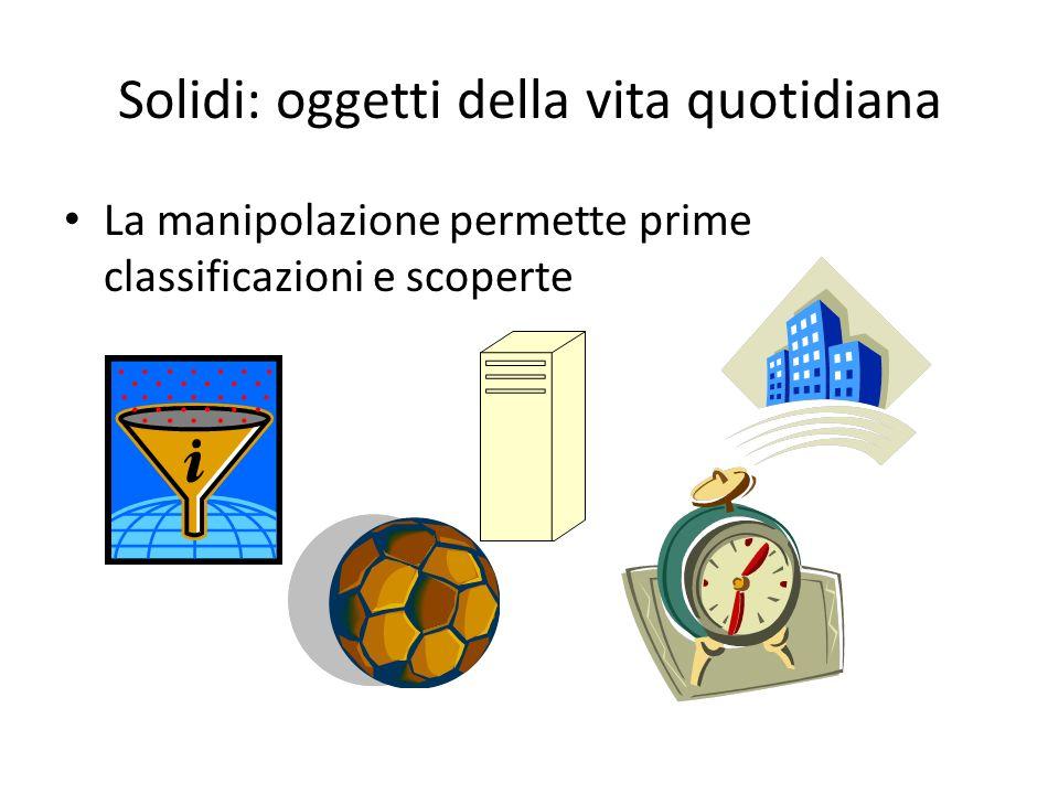 Solidi: oggetti della vita quotidiana La manipolazione permette prime classificazioni e scoperte