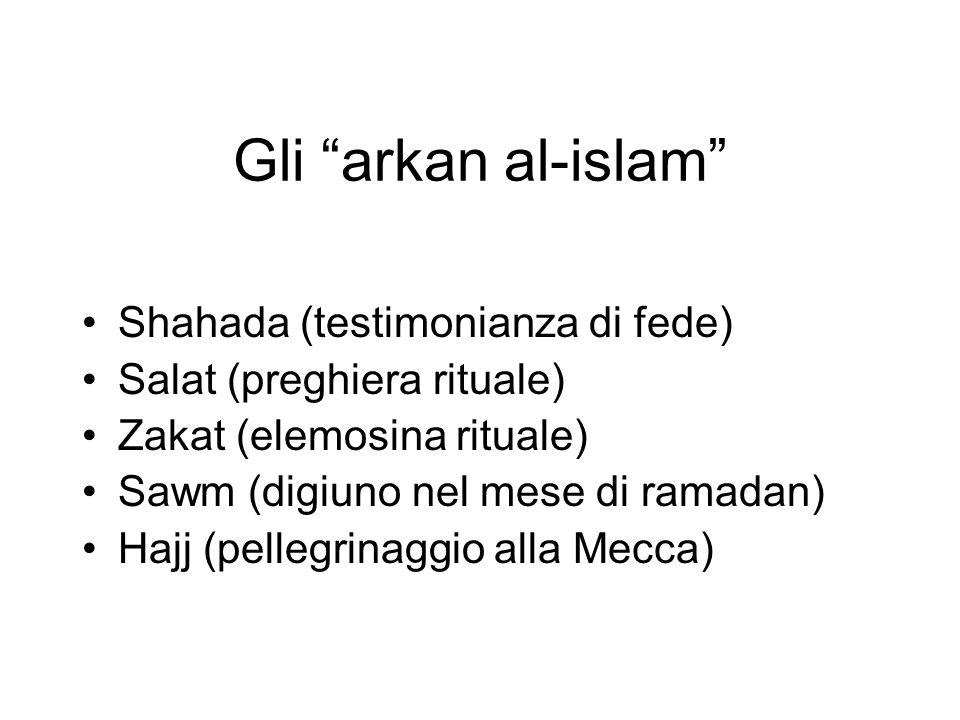 Gli arkan al-islam Shahada (testimonianza di fede) Salat (preghiera rituale) Zakat (elemosina rituale) Sawm (digiuno nel mese di ramadan) Hajj (pelleg