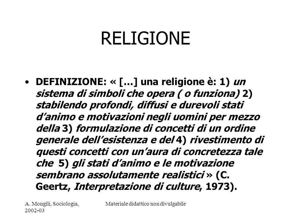 A. Mongili, Sociologia, 2002-03 Materiale didattico non divulgabile RELIGIONE DEFINIZIONE: « […] una religione è: 1) un sistema di simboli che opera (