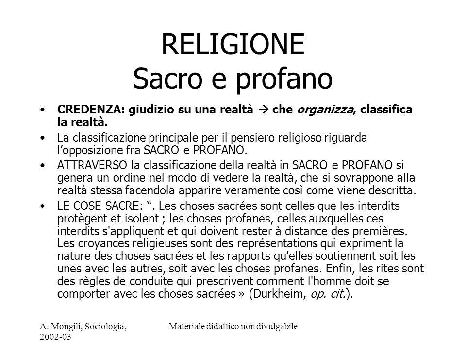 A. Mongili, Sociologia, 2002-03 Materiale didattico non divulgabile RELIGIONE Sacro e profano CREDENZA: giudizio su una realtà che organizza, classifi
