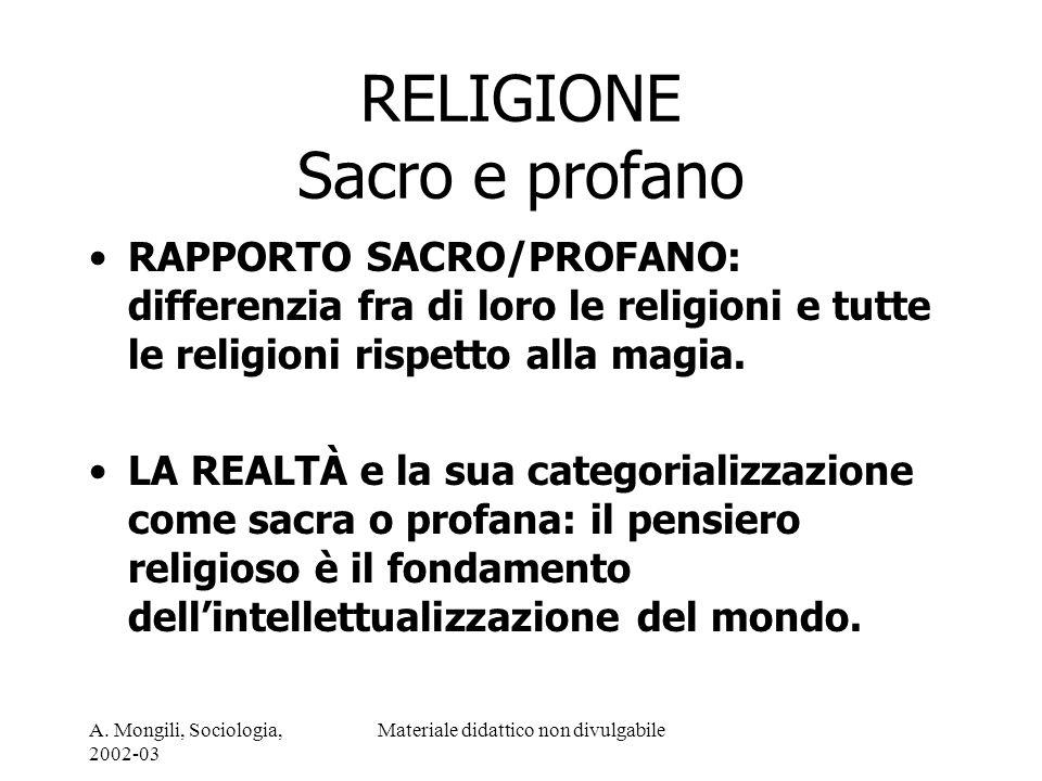 A. Mongili, Sociologia, 2002-03 Materiale didattico non divulgabile RELIGIONE Sacro e profano RAPPORTO SACRO/PROFANO: differenzia fra di loro le relig