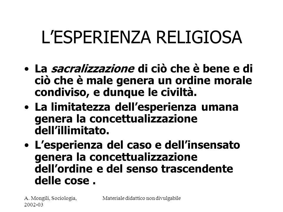 A. Mongili, Sociologia, 2002-03 Materiale didattico non divulgabile LESPERIENZA RELIGIOSA La sacralizzazione di ciò che è bene e di ciò che è male gen
