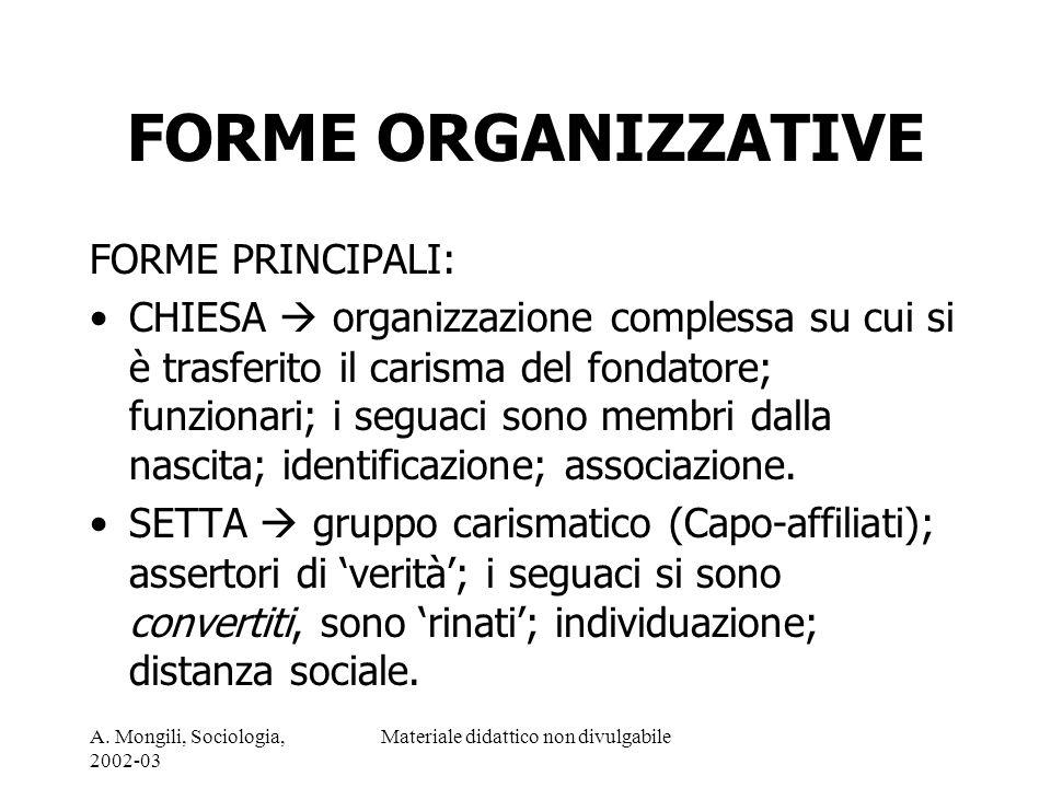 A. Mongili, Sociologia, 2002-03 Materiale didattico non divulgabile FORME ORGANIZZATIVE FORME PRINCIPALI: CHIESA organizzazione complessa su cui si è