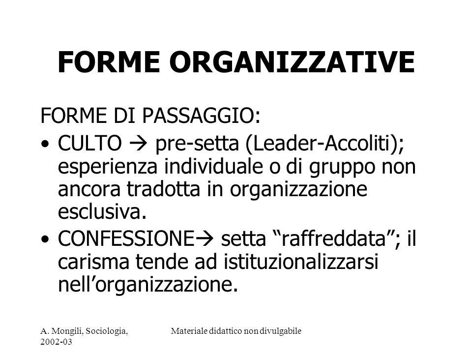 A. Mongili, Sociologia, 2002-03 Materiale didattico non divulgabile FORME ORGANIZZATIVE FORME DI PASSAGGIO: CULTO pre-setta (Leader-Accoliti); esperie