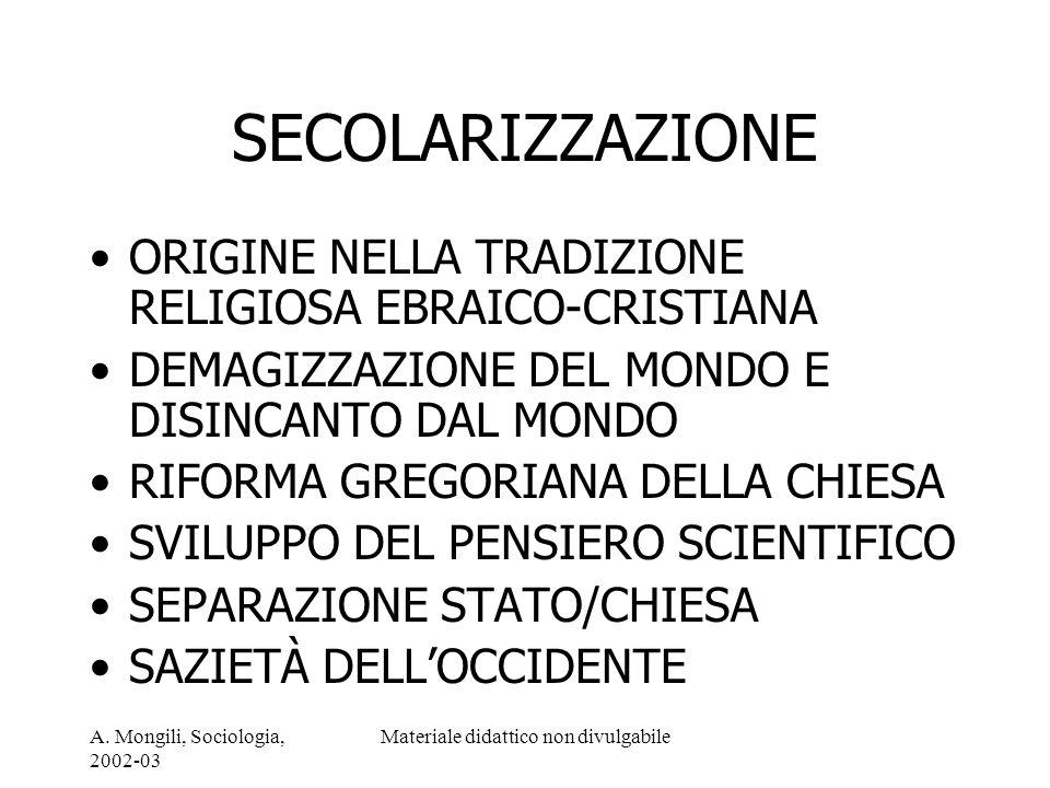 A. Mongili, Sociologia, 2002-03 Materiale didattico non divulgabile SECOLARIZZAZIONE ORIGINE NELLA TRADIZIONE RELIGIOSA EBRAICO-CRISTIANA DEMAGIZZAZIO