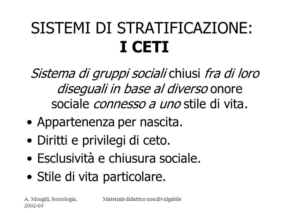 A. Mongili, Sociologia, 2002-03 Materiale didattico non divulgabile SISTEMI DI STRATIFICAZIONE: I CETI Sistema di gruppi sociali chiusi fra di loro di