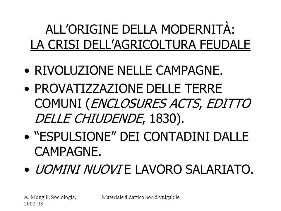 A. Mongili, Sociologia, 2002-03 Materiale didattico non divulgabile ALLORIGINE DELLA MODERNITÀ: LA CRISI DELLAGRICOLTURA FEUDALE RIVOLUZIONE NELLE CAM