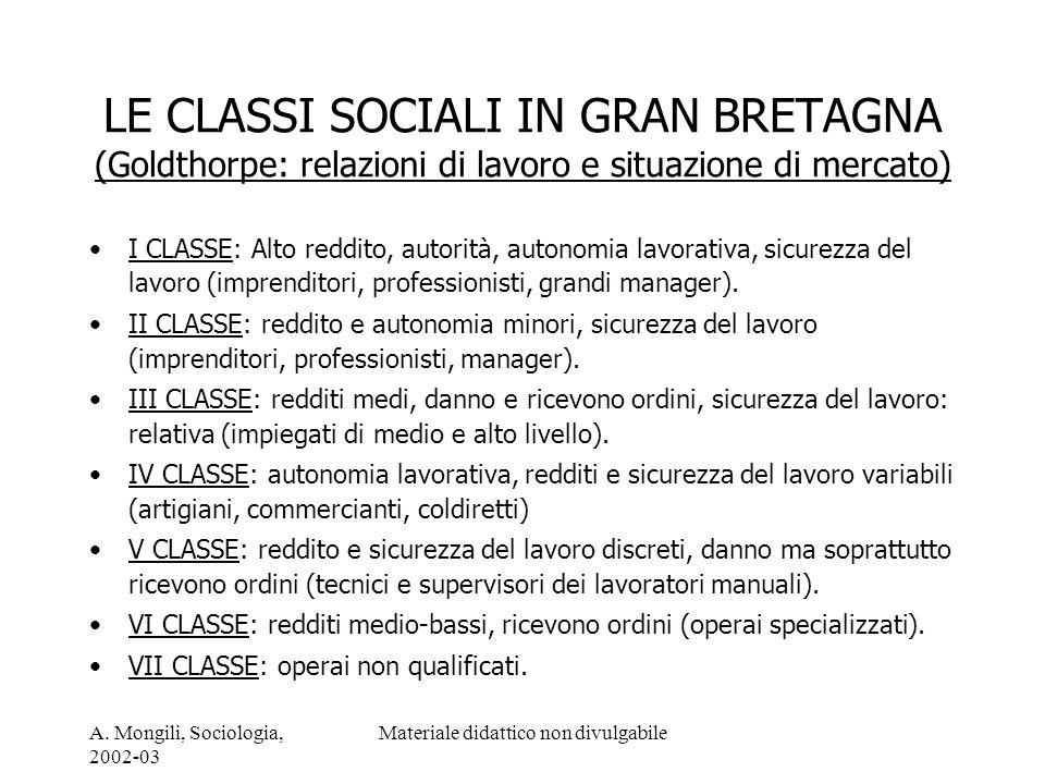 A. Mongili, Sociologia, 2002-03 Materiale didattico non divulgabile LE CLASSI SOCIALI IN GRAN BRETAGNA (Goldthorpe: relazioni di lavoro e situazione d