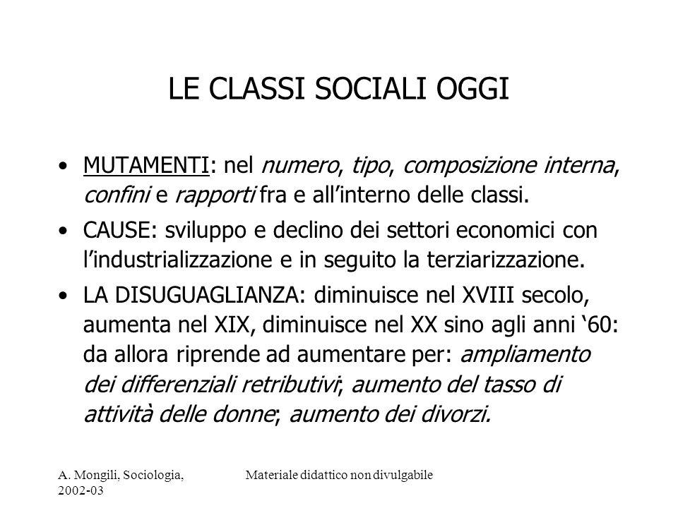 A. Mongili, Sociologia, 2002-03 Materiale didattico non divulgabile LE CLASSI SOCIALI OGGI MUTAMENTI: nel numero, tipo, composizione interna, confini