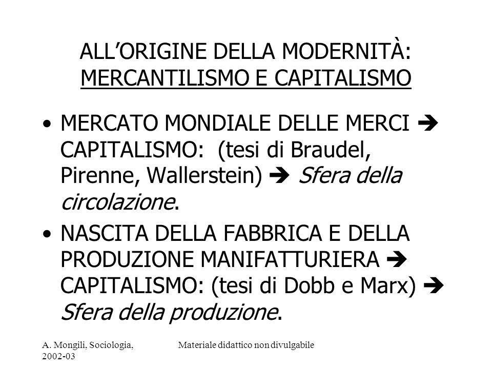 A. Mongili, Sociologia, 2002-03 Materiale didattico non divulgabile ALLORIGINE DELLA MODERNITÀ: MERCANTILISMO E CAPITALISMO MERCATO MONDIALE DELLE MER