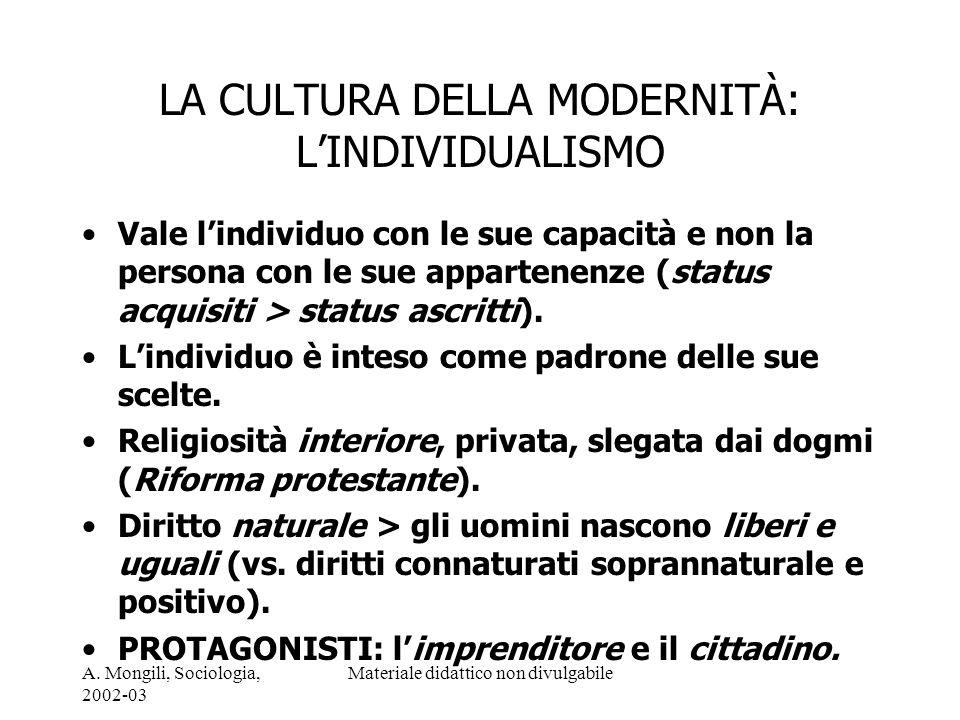 A. Mongili, Sociologia, 2002-03 Materiale didattico non divulgabile LA CULTURA DELLA MODERNITÀ: LINDIVIDUALISMO Vale lindividuo con le sue capacità e