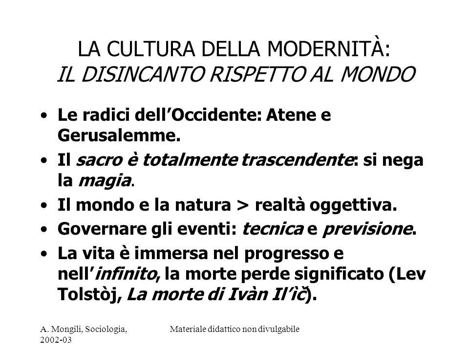 A. Mongili, Sociologia, 2002-03 Materiale didattico non divulgabile LA CULTURA DELLA MODERNITÀ: IL DISINCANTO RISPETTO AL MONDO Le radici dellOccident