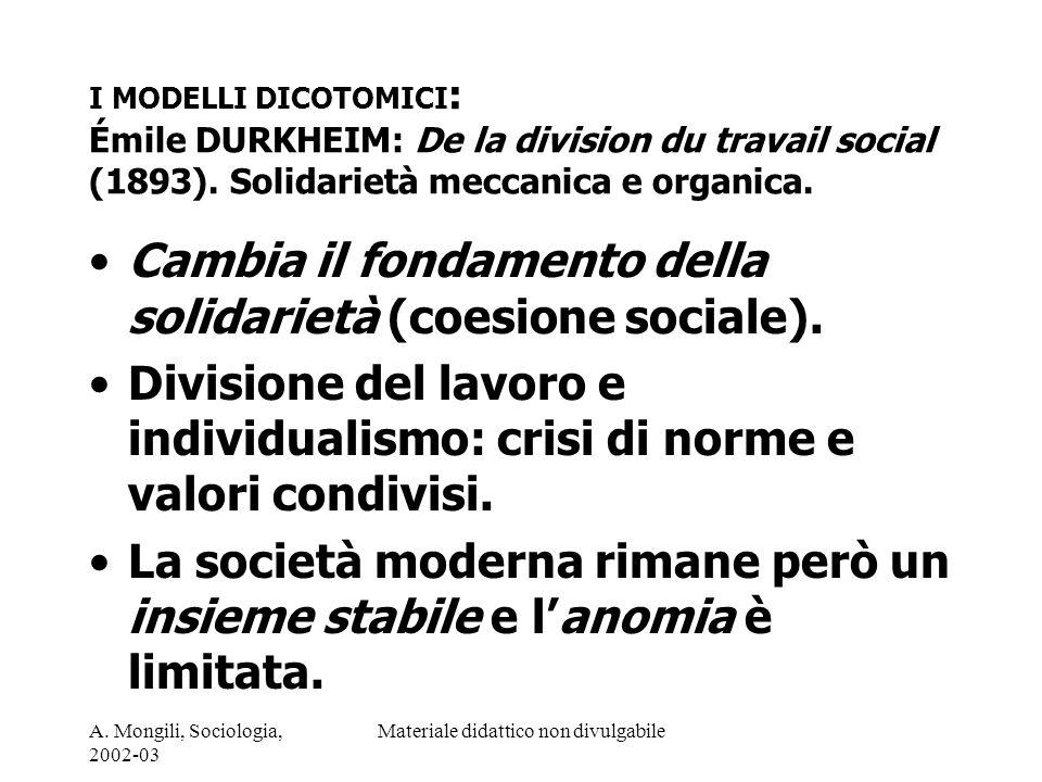A. Mongili, Sociologia, 2002-03 Materiale didattico non divulgabile I MODELLI DICOTOMICI : Émile DURKHEIM: De la division du travail social (1893). So