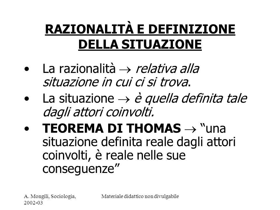 A. Mongili, Sociologia, 2002-03 Materiale didattico non divulgabile RAZIONALITÀ E DEFINIZIONE DELLA SITUAZIONE La razionalità relativa alla situazione