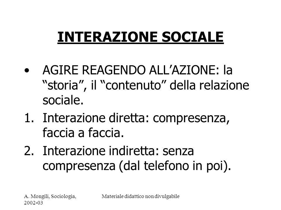 A. Mongili, Sociologia, 2002-03 Materiale didattico non divulgabile INTERAZIONE SOCIALE AGIRE REAGENDO ALLAZIONE: la storia, il contenuto della relazi