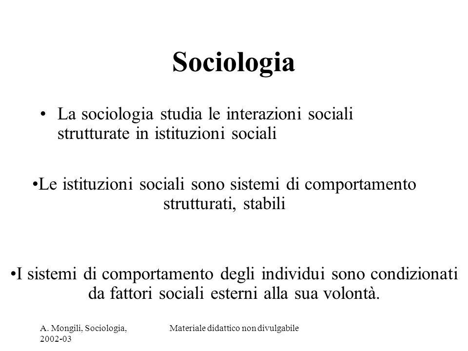 A. Mongili, Sociologia, 2002-03 Materiale didattico non divulgabile Sociologia La sociologia studia le interazioni sociali strutturate in istituzioni