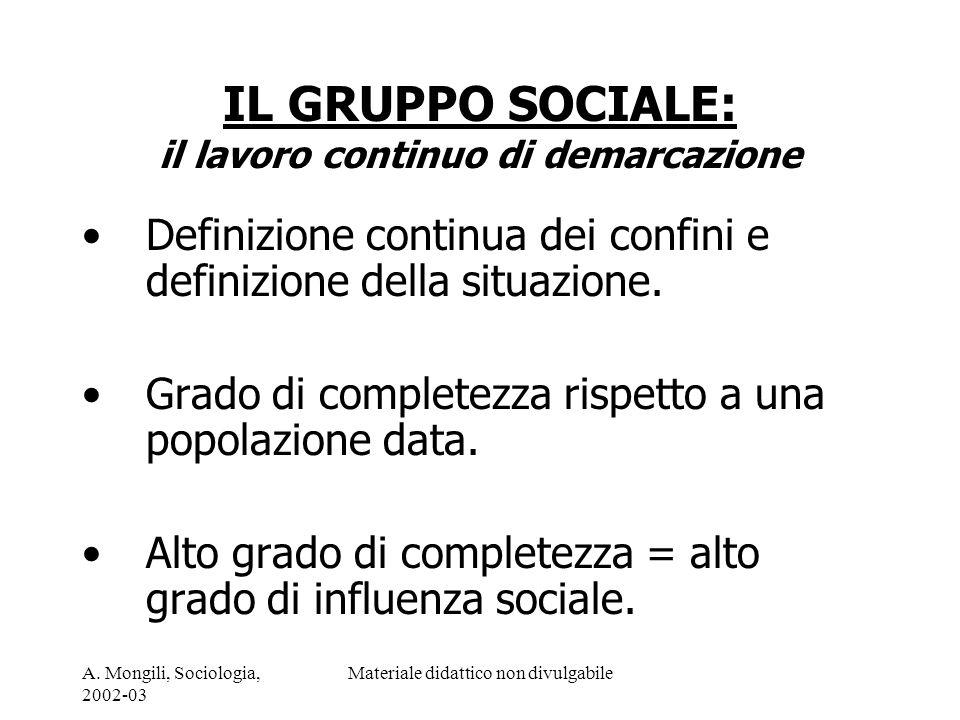 A. Mongili, Sociologia, 2002-03 Materiale didattico non divulgabile IL GRUPPO SOCIALE: il lavoro continuo di demarcazione Definizione continua dei con
