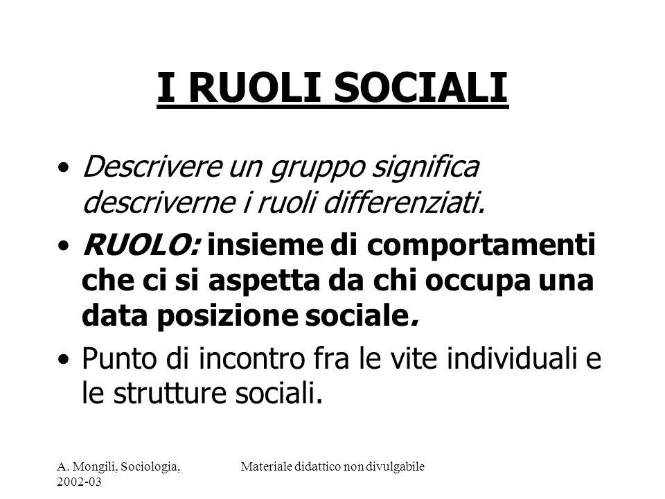 A. Mongili, Sociologia, 2002-03 Materiale didattico non divulgabile I RUOLI SOCIALI Descrivere un gruppo significa descriverne i ruoli differenziati.
