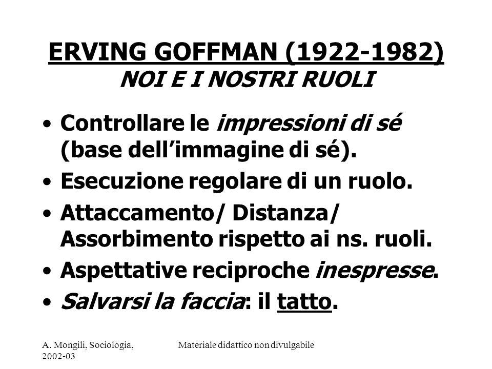 A. Mongili, Sociologia, 2002-03 Materiale didattico non divulgabile ERVING GOFFMAN (1922-1982) NOI E I NOSTRI RUOLI Controllare le impressioni di sé (