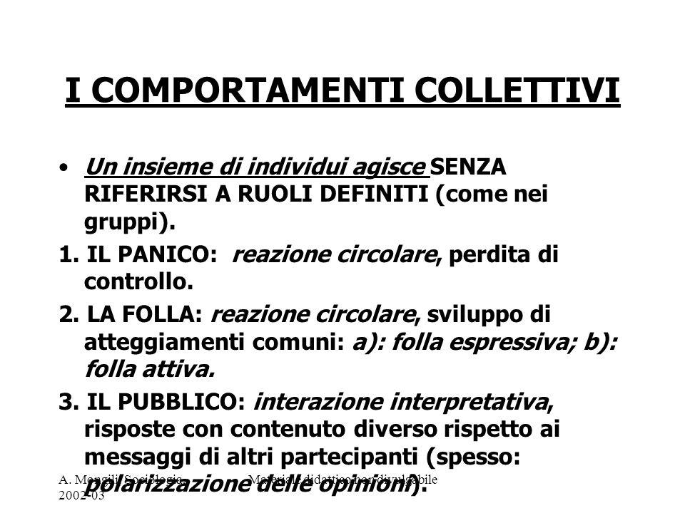 A. Mongili, Sociologia, 2002-03 Materiale didattico non divulgabile I COMPORTAMENTI COLLETTIVI Un insieme di individui agisce SENZA RIFERIRSI A RUOLI