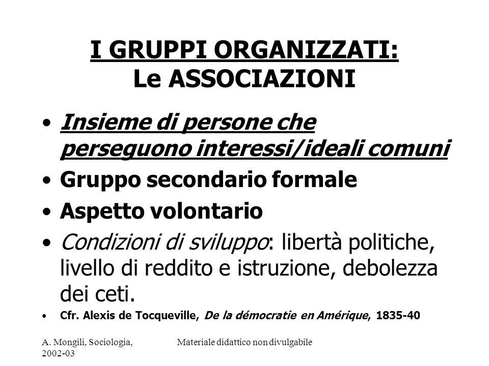 A. Mongili, Sociologia, 2002-03 Materiale didattico non divulgabile I GRUPPI ORGANIZZATI: Le ASSOCIAZIONI Insieme di persone che perseguono interessi/