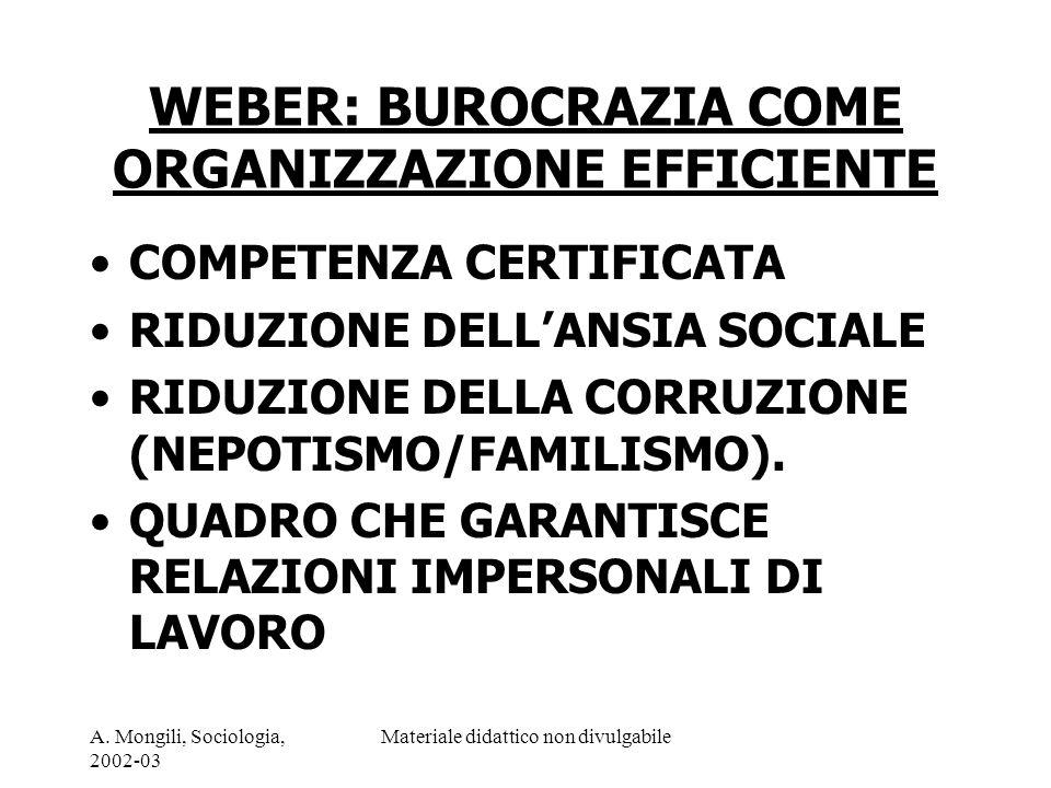 A. Mongili, Sociologia, 2002-03 Materiale didattico non divulgabile WEBER: BUROCRAZIA COME ORGANIZZAZIONE EFFICIENTE COMPETENZA CERTIFICATA RIDUZIONE