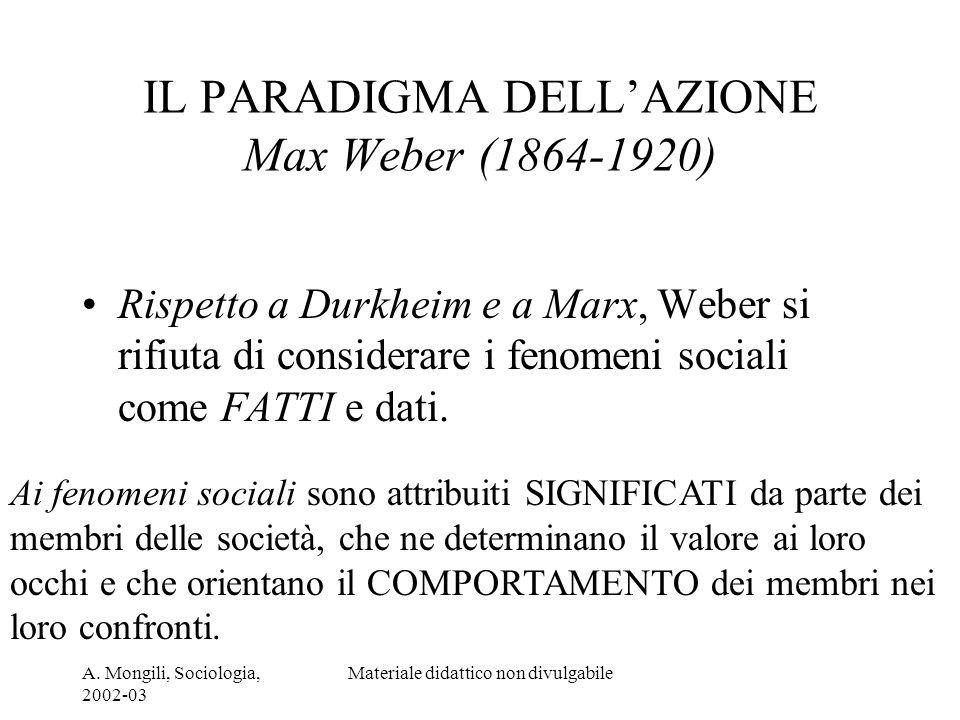 A. Mongili, Sociologia, 2002-03 Materiale didattico non divulgabile IL PARADIGMA DELLAZIONE Max Weber (1864-1920) Rispetto a Durkheim e a Marx, Weber