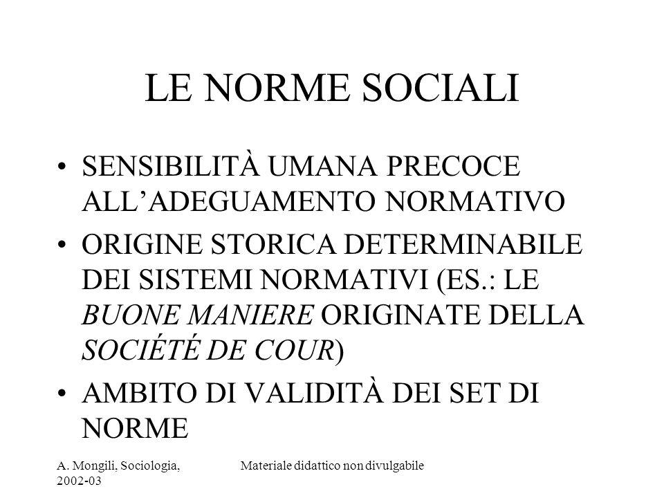 A. Mongili, Sociologia, 2002-03 Materiale didattico non divulgabile LE NORME SOCIALI SENSIBILITÀ UMANA PRECOCE ALLADEGUAMENTO NORMATIVO ORIGINE STORIC
