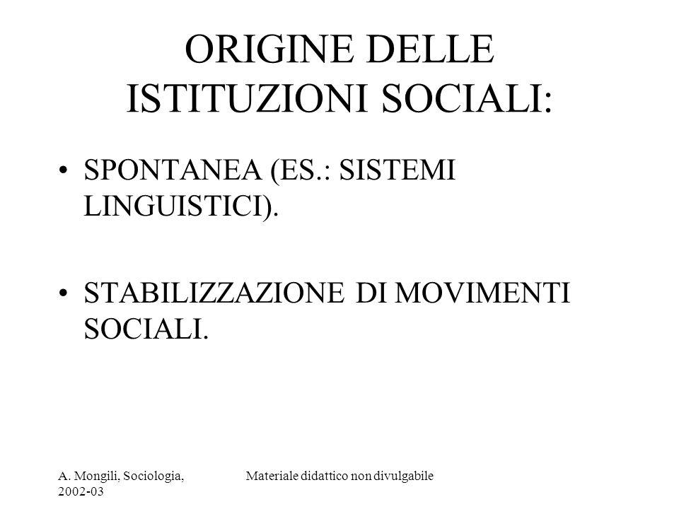A. Mongili, Sociologia, 2002-03 Materiale didattico non divulgabile ORIGINE DELLE ISTITUZIONI SOCIALI: SPONTANEA (ES.: SISTEMI LINGUISTICI). STABILIZZ