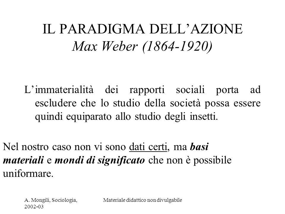 A. Mongili, Sociologia, 2002-03 Materiale didattico non divulgabile IL PARADIGMA DELLAZIONE Max Weber (1864-1920) Limmaterialità dei rapporti sociali