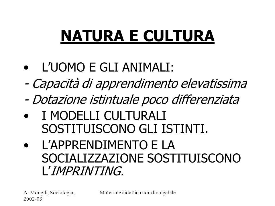 A. Mongili, Sociologia, 2002-03 Materiale didattico non divulgabile NATURA E CULTURA LUOMO E GLI ANIMALI: - Capacità di apprendimento elevatissima - D