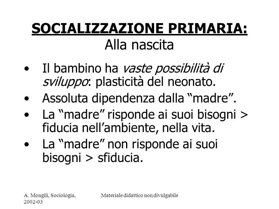 A. Mongili, Sociologia, 2002-03 Materiale didattico non divulgabile SOCIALIZZAZIONE PRIMARIA: Alla nascita Il bambino ha vaste possibilità di sviluppo