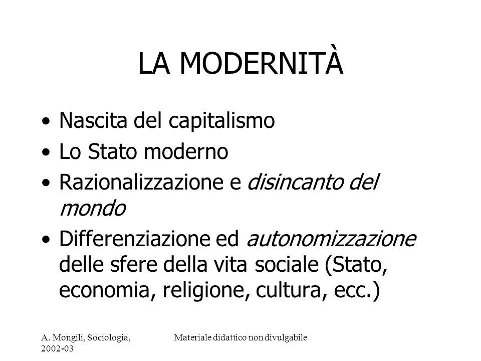 A. Mongili, Sociologia, 2002-03 Materiale didattico non divulgabile LA MODERNITÀ Nascita del capitalismo Lo Stato moderno Razionalizzazione e disincan