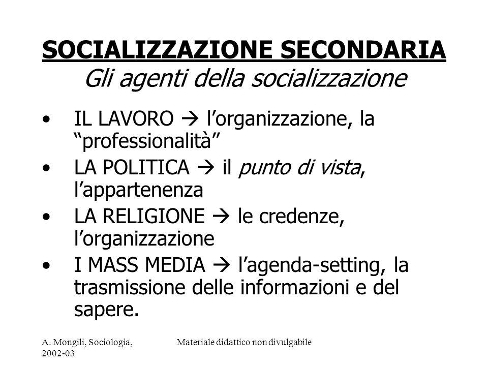 A. Mongili, Sociologia, 2002-03 Materiale didattico non divulgabile SOCIALIZZAZIONE SECONDARIA Gli agenti della socializzazione IL LAVORO lorganizzazi