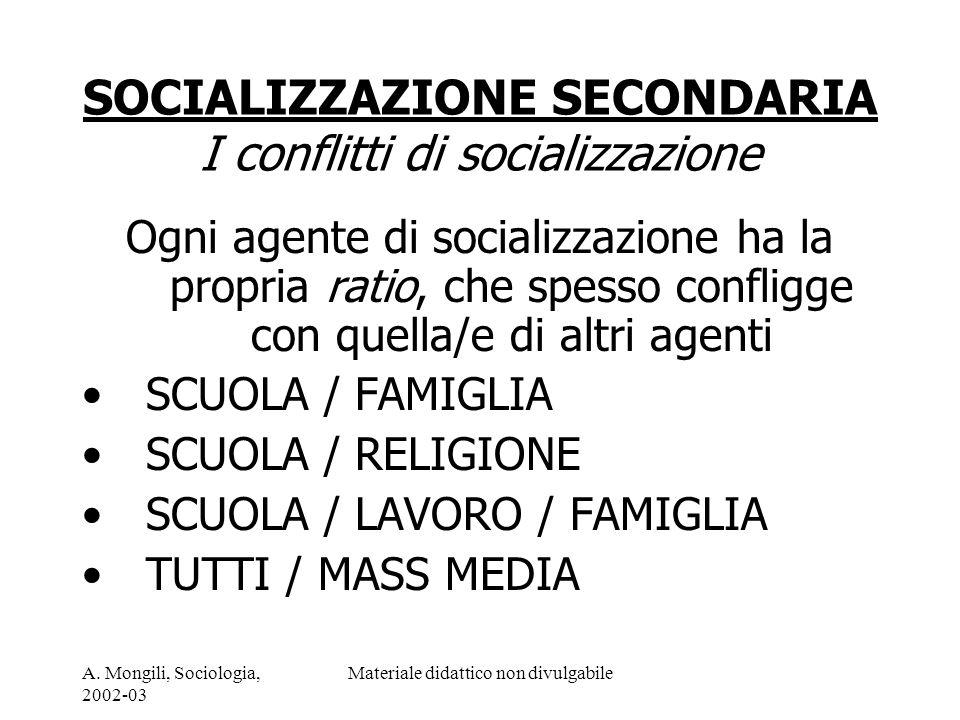 A. Mongili, Sociologia, 2002-03 Materiale didattico non divulgabile SOCIALIZZAZIONE SECONDARIA I conflitti di socializzazione Ogni agente di socializz