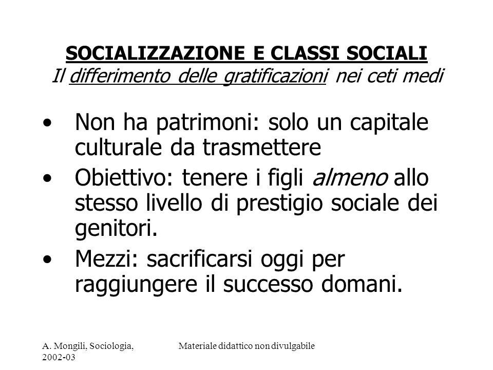 A. Mongili, Sociologia, 2002-03 Materiale didattico non divulgabile SOCIALIZZAZIONE E CLASSI SOCIALI Il differimento delle gratificazioni nei ceti med