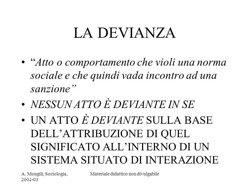 A. Mongili, Sociologia, 2002-03 Materiale didattico non divulgabile LA DEVIANZA Atto o comportamento che violi una norma sociale e che quindi vada inc