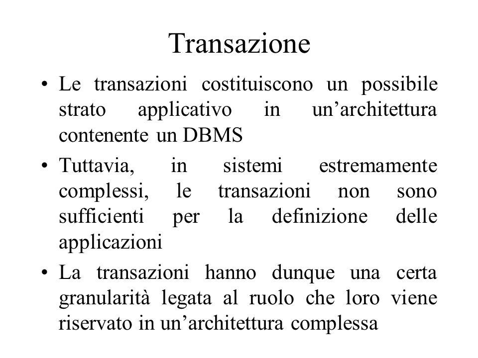 Transazione Le transazioni costituiscono un possibile strato applicativo in unarchitettura contenente un DBMS Tuttavia, in sistemi estremamente complessi, le transazioni non sono sufficienti per la definizione delle applicazioni La transazioni hanno dunque una certa granularità legata al ruolo che loro viene riservato in unarchitettura complessa