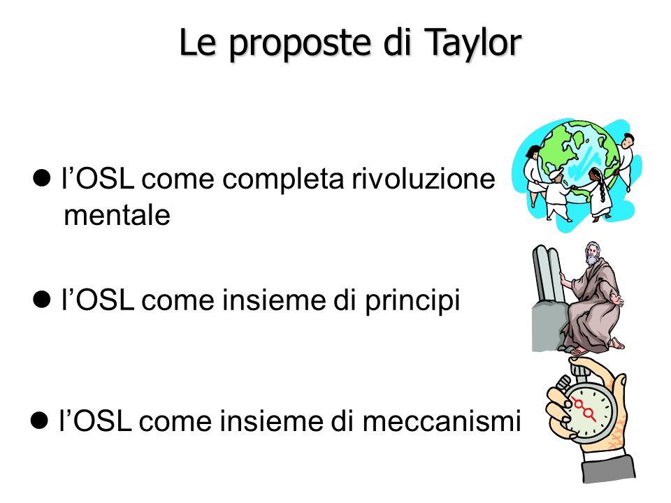 l lOSL come insieme di meccanismi l lOSL come insieme di principi l lOSL come completa rivoluzione mentale Le proposte di Taylor