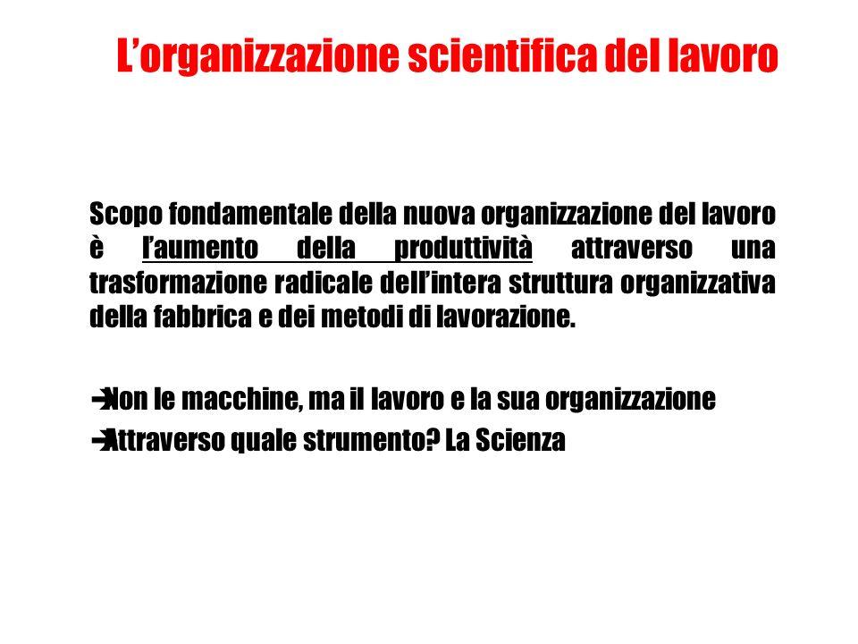 Lorganizzazione scientifica del lavoro Scopo fondamentale della nuova organizzazione del lavoro è laumento della produttività attraverso una trasforma