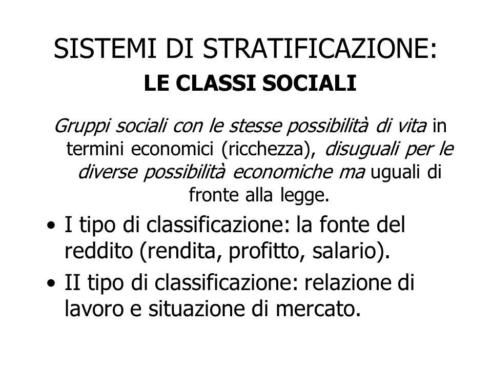 SISTEMI DI STRATIFICAZIONE: LE CLASSI SOCIALI Gruppi sociali con le stesse possibilità di vita in termini economici (ricchezza), disuguali per le dive