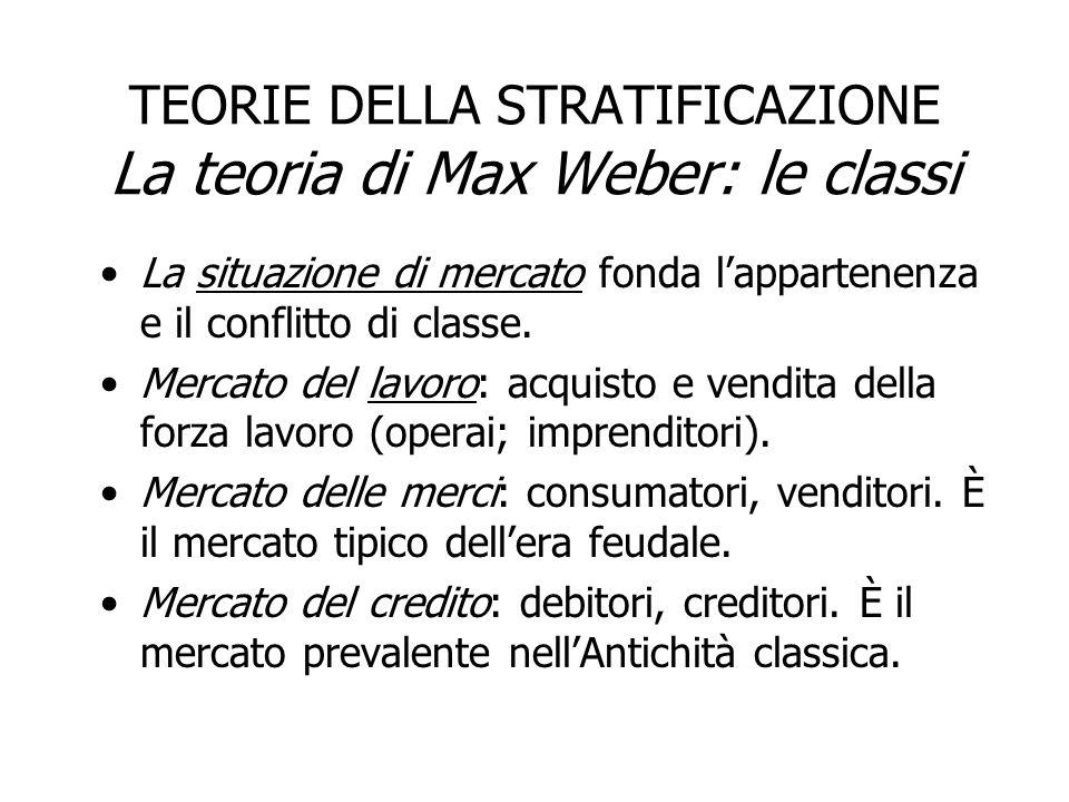 TEORIE DELLA STRATIFICAZIONE La teoria di Max Weber: le classi La situazione di mercato fonda lappartenenza e il conflitto di classe. Mercato del lavo