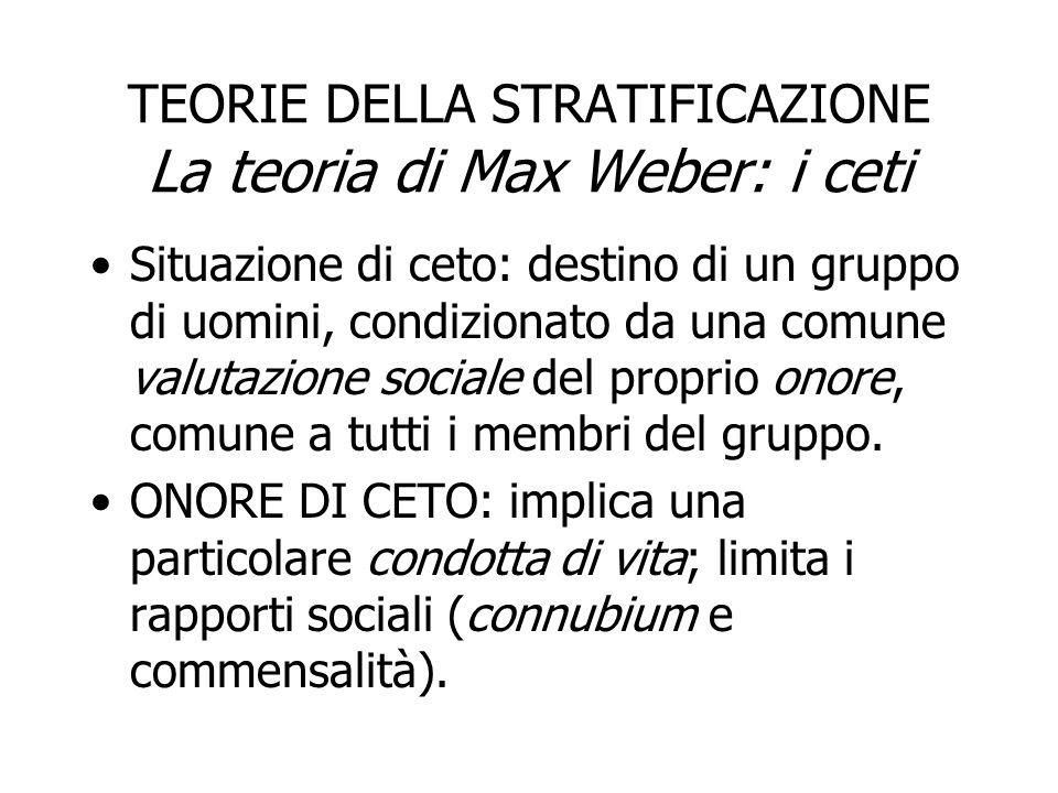 TEORIE DELLA STRATIFICAZIONE La teoria di Max Weber: i ceti Situazione di ceto: destino di un gruppo di uomini, condizionato da una comune valutazione